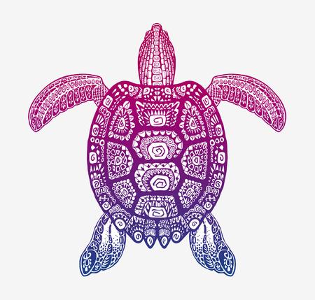 totem indien: tortue décorative avec motif ornemental. Vector tribal animal totem