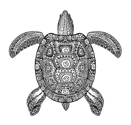 zoo animals: Terrapin, turtle painted tribal ethnic ornament. Hand-drawn vector illustration with decorative patterns