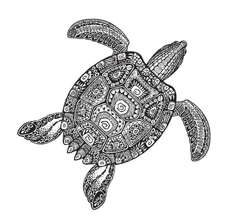 Ornate turtle in tattoo style isolated. Vector illustration Illustration