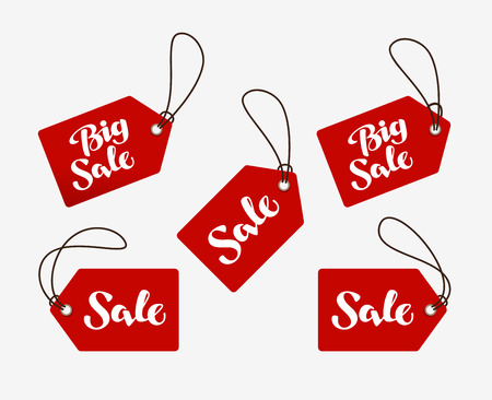 sale tag: Red tag with the words sale. Illustration