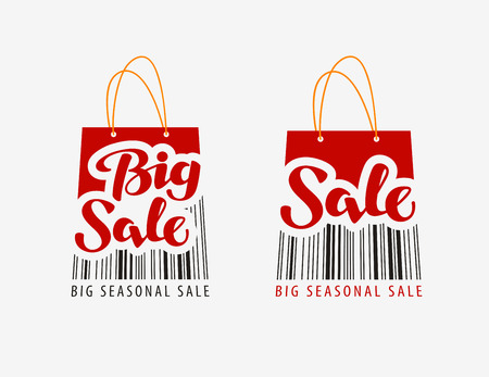 Sale. Red shopping bag with bar code. Vector illustration