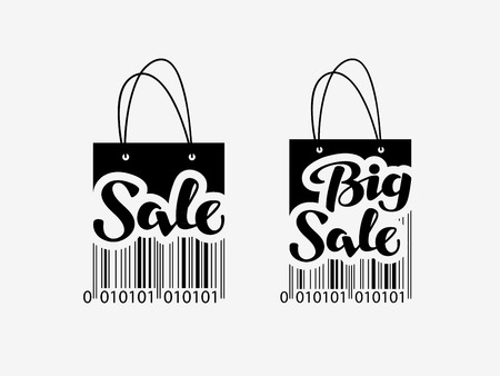 shopping icon: Sale. Shopping bag with bar code. discount icon or symbol. vector illustration Illustration