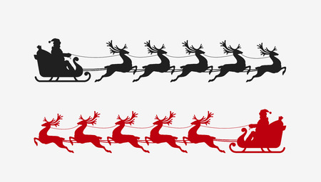 santa sleigh: Santa sleigh reindeer silhouette. Christmas symbol. vector illustration