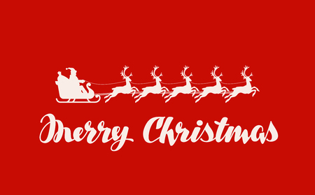 skid: Merry Christmas greeting card. Vector illustration. Santa Claus in a sleigh pulled by reindeer