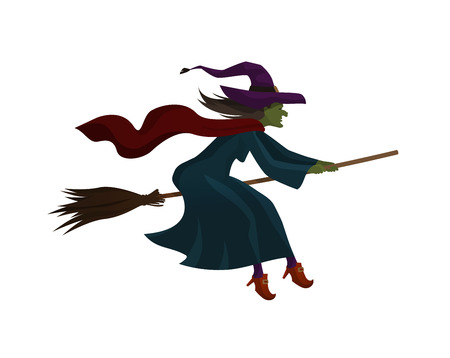 Halloween. Old witch flying on broom.