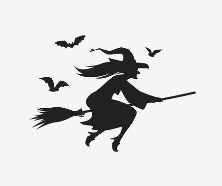 Silhouette witch flying on broomstick. Halloween illustration Illustration