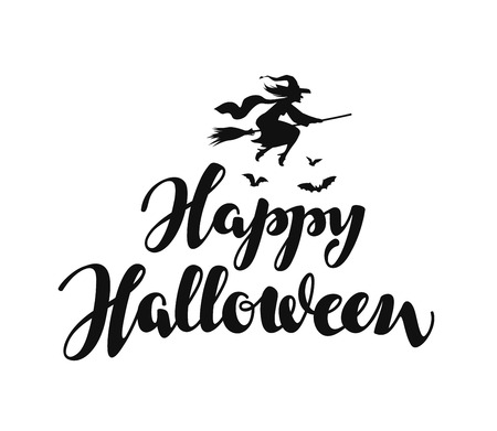 copy writing: Happy Halloween message background. illustration isolated on white background
