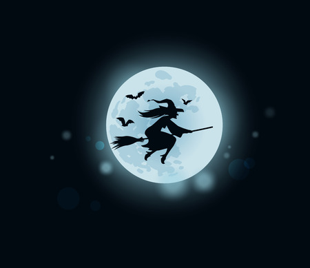 enchantment: Halloween. evil old witch flying on broomstick