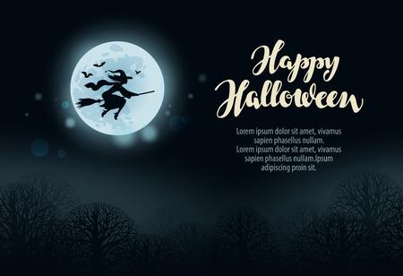 witchery: Happy Halloween. Witch flies on broomstick in dark forest