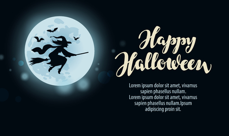 witchery: Halloween. template greeting card or holiday party. illustration