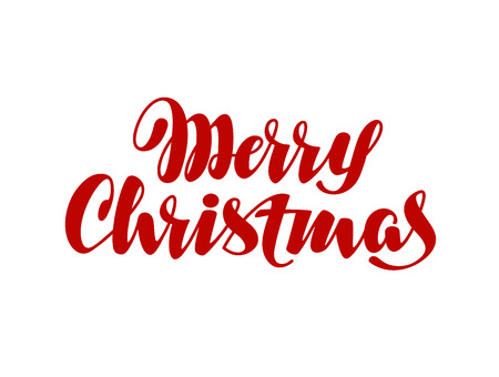 christmas element: Merry Christmas lettering. calligraphy element for design xmas card