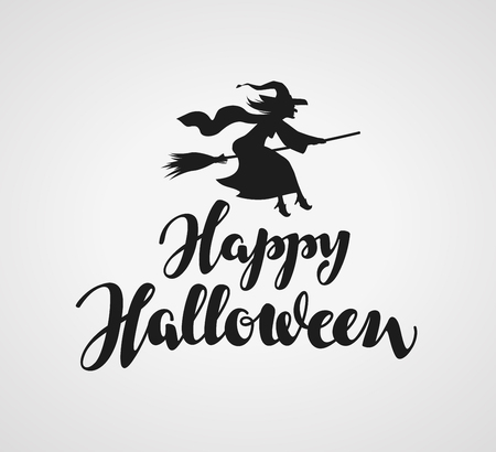 hag: Happy Halloween lettering. calligraphy element for greeting card