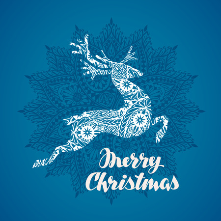 running reindeer: Merry Christmas greeting card. Silhouette flying deer in decorative style Illustration