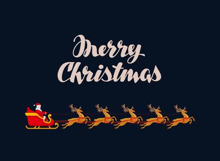rides: Merry Christmas greeting card. Rides Santa Claus. Vintage illustration Illustration