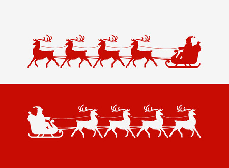 rides: Merry Christmas greeting card. Santa Claus rides in sleigh pulled by reindeer. illustration Illustration