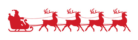 Santa Claus sleigh. element isolated on white background.  silhouette Illustration