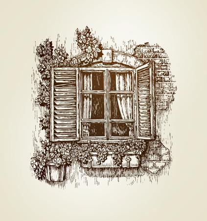 Uitstekend venster schets. Vector illustratie. Italiaans landschap