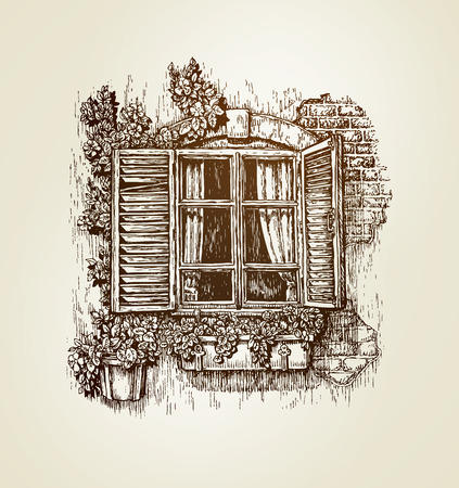 old frame: Vintage window sketch. Vector illustration. Italian landscape