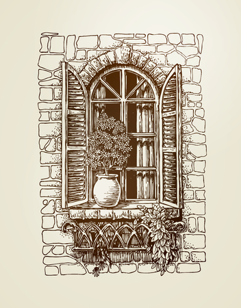 Window with wooden shutters. Vintage sketch. Vector Illustration