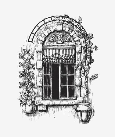 Open window sketch. Vintage historic building vector illustration