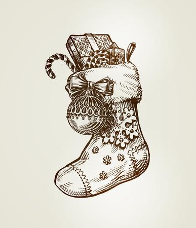 christmas sock: Christmas sock with gifts. Sketch vintage vector illustration