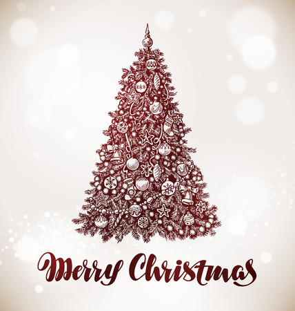 tree decorations: Merry Christmas. Xmas tree with decorations. Vector Illustration