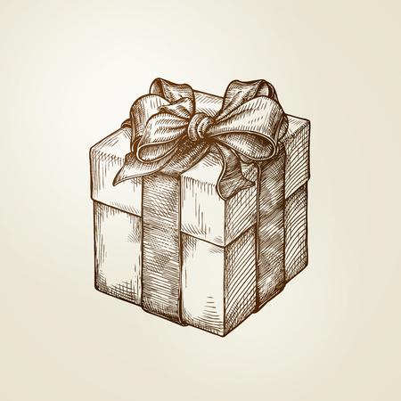 keepsake: Gift. Box with bow. Vintage sketch vector illustration