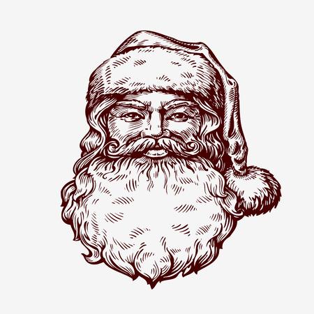 Santa Claus sketch. Vector illustration. Christmas symbol
