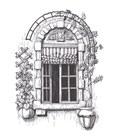 old houses: Drawn sketch retro window isolated on white background