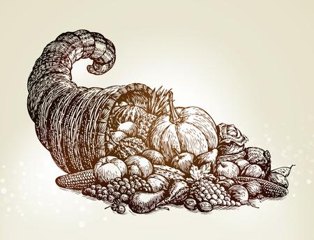 thanksgiving day symbol: Simbolo del giorno del Ringraziamento. Illustrazione vettoriale di abbozzo cornucopia d'epoca