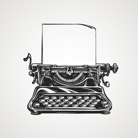 Vintage mechanical typewriter. retro sketch vector illustration