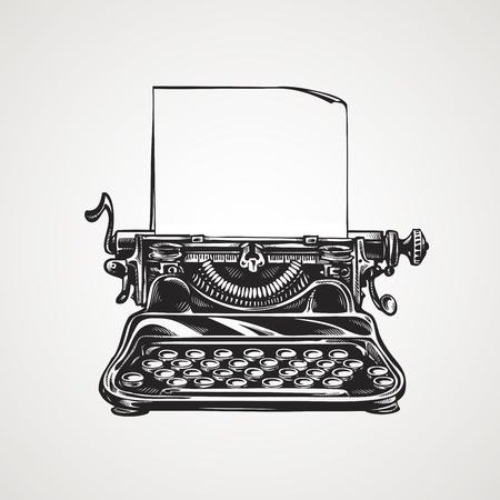 Vintage mechanical typewriter. retro sketch vector illustration