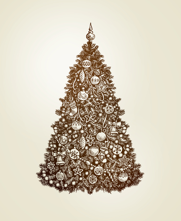 Vintage Christmas tree with xmas decorations. Hand drawn sketch vector Illustration