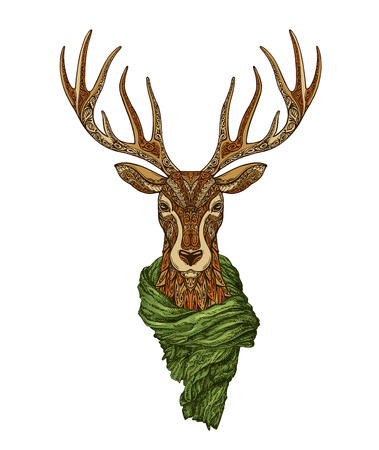 Christmas. Decorative reindeer with knitted scarf. Vector illustration