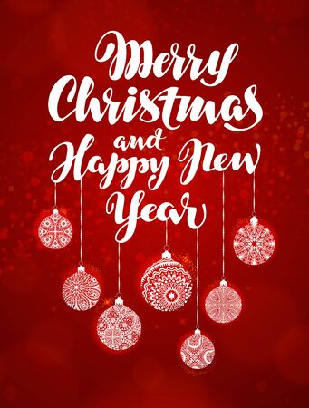 Merry Christmas and Happy New Year, banner. Beautiful greeting lettering decorated with decorative xmas decorations Illustration