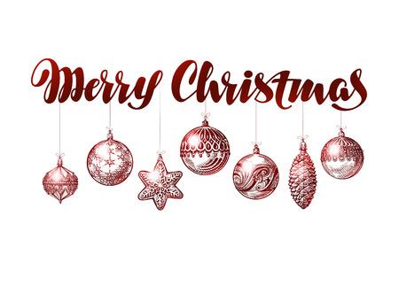 xmas decoration: Merry Christmas banner. Vintage xmas decoration sketch vector Illustration