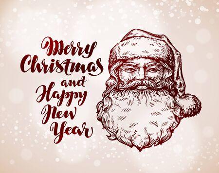 Merry Christmas greeting card. Hand-drawn Santa Claus. Vector illustration Illustration