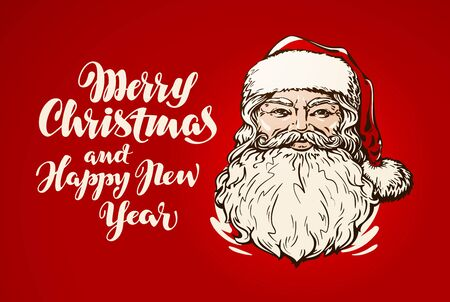 Merry Christmas and Happy New Year, banner. Santa Claus