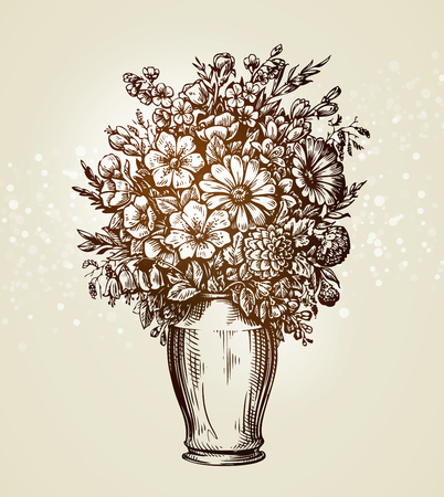 Vintage vase with meadow flowers. Sketch vector illustration