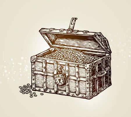 stalker: treasure chest with golden coins. vector illustration