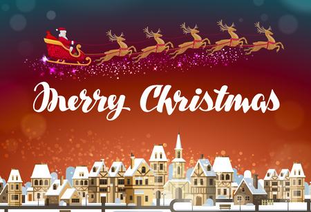 Fröhliche Weihnachten. Weihnachtsmann im Schlitten über die Stadt fliegen