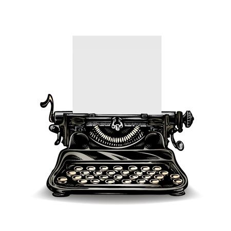 Vintage typewriter isolated on white background. Vector