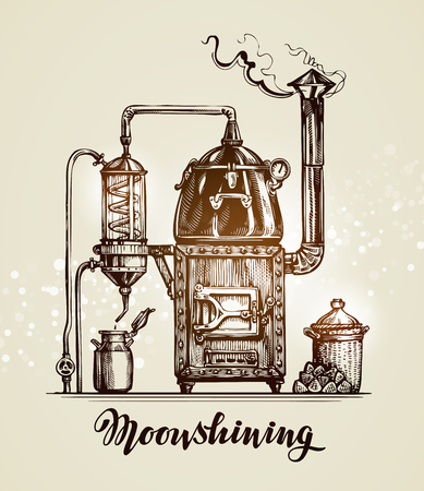 Moonshining. Vintage hooch art sketch. Vector illustration