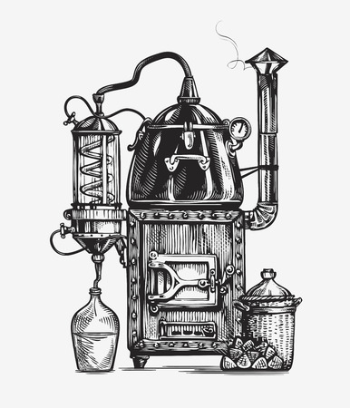 Distillation apparatus sketch. Retro hooch vector illustration Illustration
