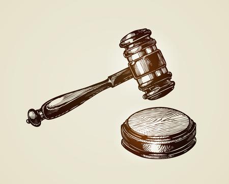 Gavel, hammer of judge or auctioneer. Sketch vector