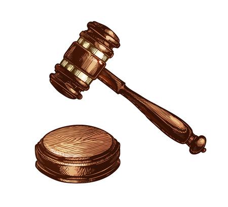 Wooden judges gavel isolated on white background. Vector illustration Illustration