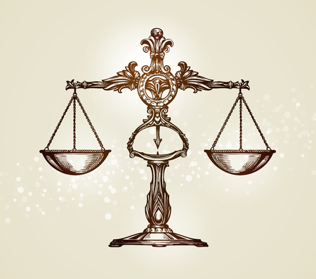 delincuencia: escalas de la vendimia de la justicia. Mano vector dibujado boceto