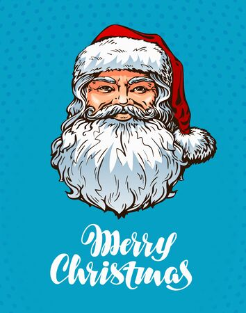Portrait Santa Claus. Merry Christmas greeting card. Vector
