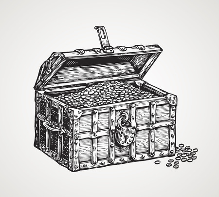 Cassa di legno con tesori. Illustrazione vettoriale sketch d'epoca Vettoriali