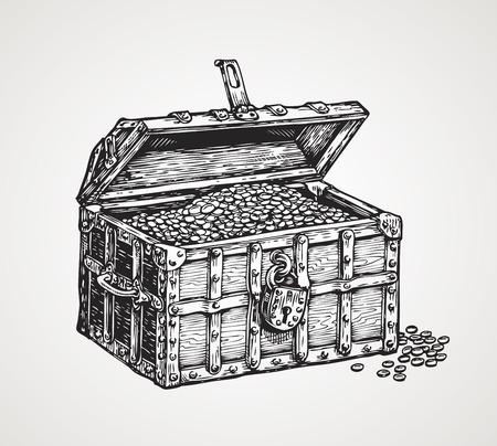 cazador: cofre de madera con tesoros. ilustración vectorial de época boceto Vectores